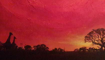 South African Sunset Painting by Dee Maene