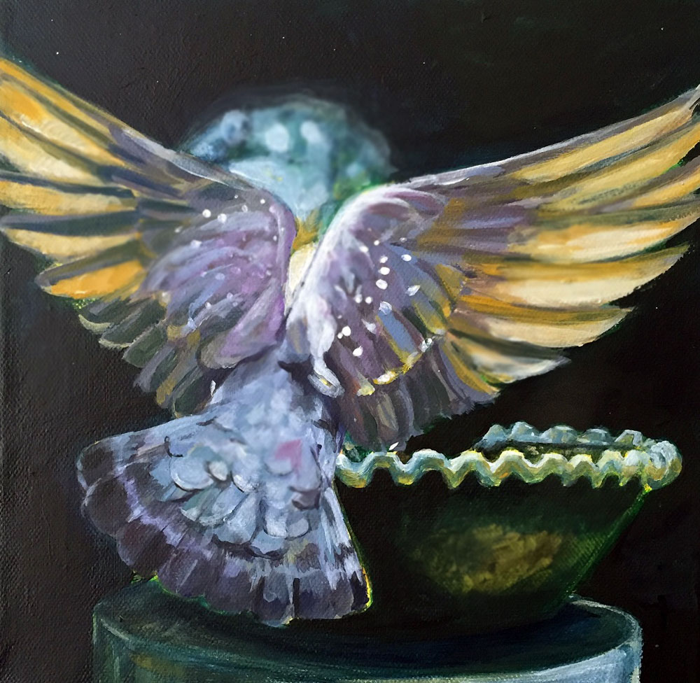 Painting of a dove on a water fountain