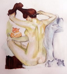 Painting of a woman and a cat