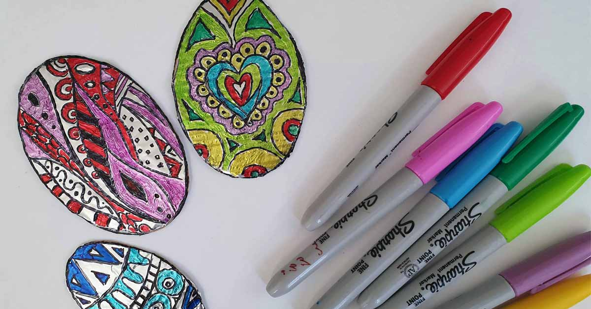 Easy Foil Zentangle Easter Eggs for Kids and Adults
