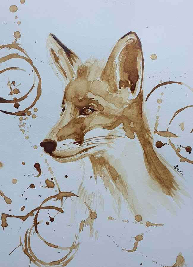 Painting of a fox done in coffee