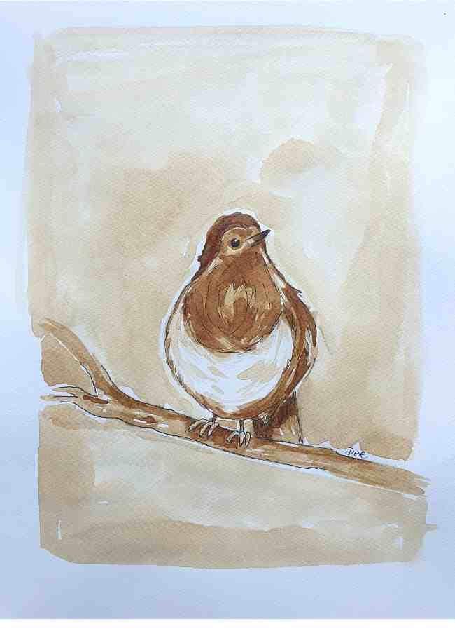 Painting of a robin done in coffee by Dee Maene