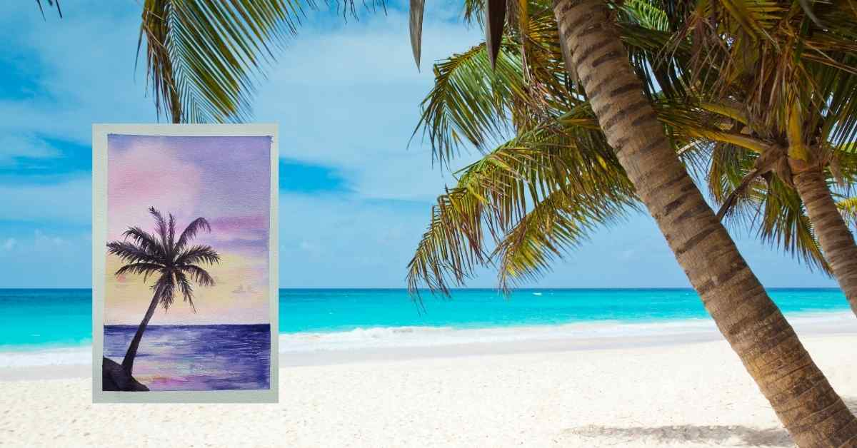 palm trees on a beach and a painting of watercolor palm trees in purples
