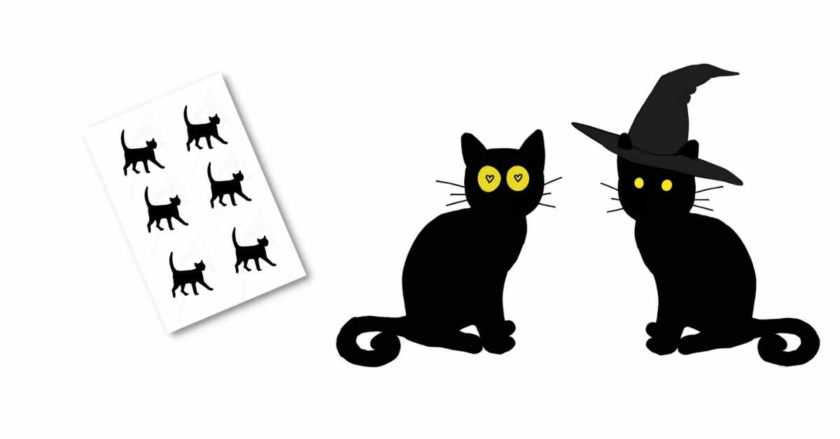 black cat template on a white background