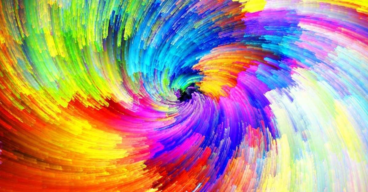 digital rainbow paint swirl