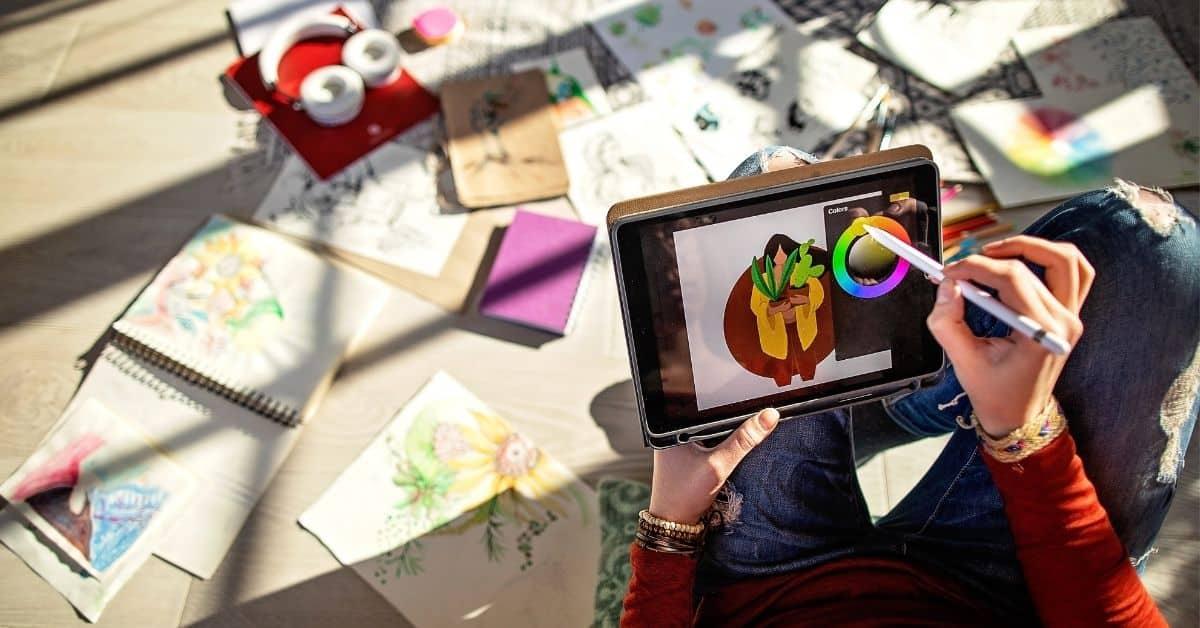 digitally painting on an ipad